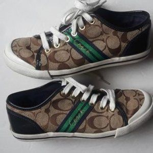 SIZE 6.COACH LOGO CANVAS/LEATHER SNEAKERS.